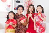 Multi generations Asian family celebrate Chinese new year