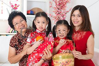 Beautiful multi generations Asian family