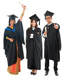 Full body group of multi races university student in graduation