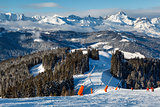 Skiing and Snowboarding in French Alps, Megeve