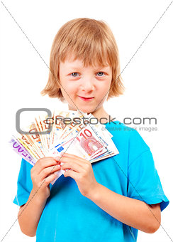 BOY HOLDING EUROPEAN UNION BANKNOTES