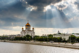 Sun Shining over Cathedral of Christ the Saviour in Moscow, Russ