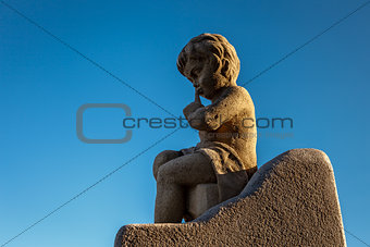 Angel Boy Statue near the Notre-Dame de la Garde in Marseilles,