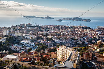 Aerial View of Marseille City and Islands in Background, France