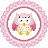 Pink Owl Round Label