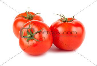 Three ripe red tomato