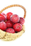 Basket with red plums.