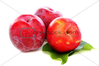 Three red plums.