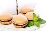 Macaroons filled with chocolate and mint.