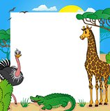African frame with animals 01