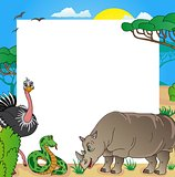 African frame with animals 03