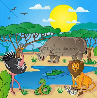 African landscape with animals 02
