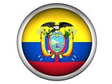 National Flag of Ecuador . Button Style .  Isolated