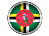 National Flag of Dominica . Button Style .  Isolated