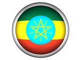 National Flag of Ethiopia . Button Style .  Isolated