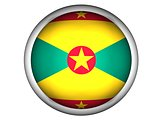 National Flag of Grenada . Button Style .  Isolated