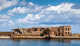 Firkas Fortress remains in Chania hatbor, Crete
