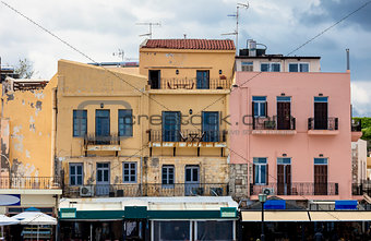 Houses at the harbor in Chania, Crete