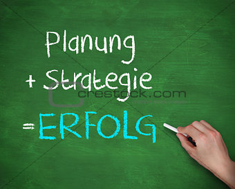 Man writing planung strategy and erfolg