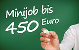Hand writing with a white marker minijob bis 450 euro