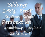 Businessman writing learning terms in german