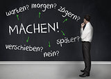 Thoughtful businessman looking at words machen warten morgen zogern spater verschieben nein