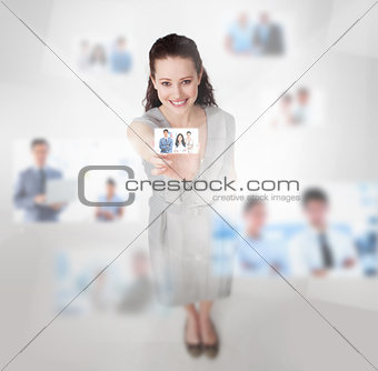 Smiling attractive woman catching a picture