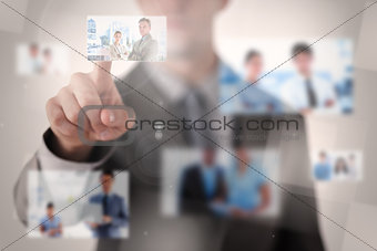 Businessman selecting a picture