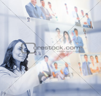 Content businesswoman selecting pictures
