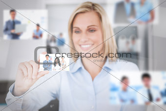 Joyful attractive woman catching a picture
