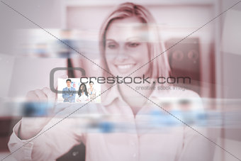 Content attractive woman catching a picture