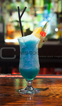 Close up on colourful frozen cocktail with pineapple