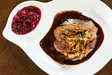 Delicious duck breast dish with gravy and rice