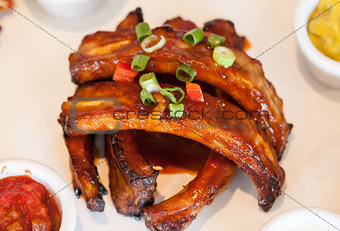 Close up of barbecue pork ribs