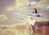 Gorgeous businesswoman using futuristic interface