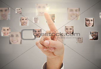 Finger pointing at digital interface