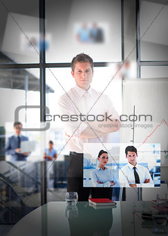 Businessman posing in bright office