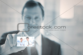 Businessman presenting digital interface