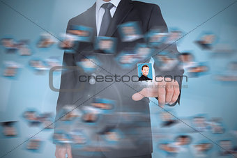 Businessman presenting profile picture