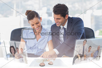 Business people working together using digital interface