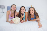 Friends eating popcorn and laughing