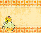 Vector grunge checkered background with dessert
