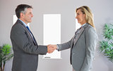 Pleased businessman shaking the hand of a content businesswoman