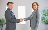 Cheerful businessman shaking the hand of a content businesswoman both looking at camera