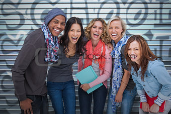 Happy group of friends laughing together