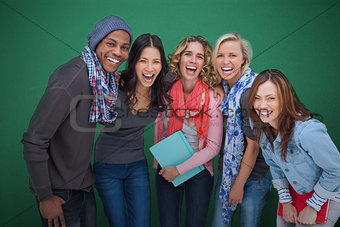 Group of cheerful friends posing together
