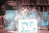 Cheerful college friends studying geography on digital interface