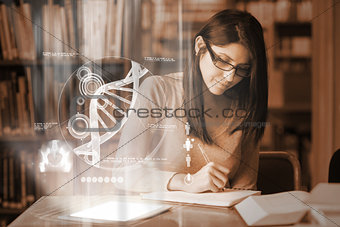 Serious mature student studying medicine on digital interface