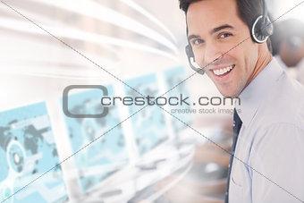 Call center worker using futuristic interface hologram