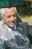 Cheerful businessman on the phone driving
